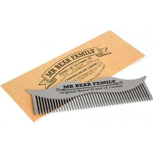 """photo de Peigne à Barbe \\""""Moustache\\"""" en Métal 10 x 3 cm MR BEAR FAMILY"""