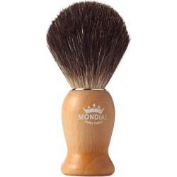 photo de Blaireau WOOD Pure Badger pur poil noir, Taille 12 manche bois clair MONDIAL 1908