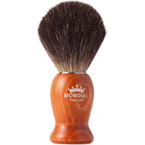 photo de Blaireau WOOD Pure Badger pur poil noir, Taille 12 manche bois rouge MONDIAL 1908
