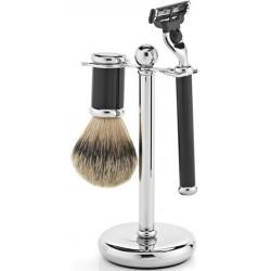 photo de Set de rasage 3 pièces manche noir : rasoir Mach3, blaireau pur poil gris
