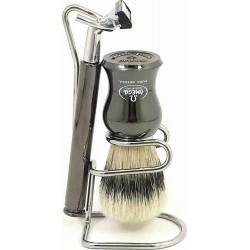 photo de Ensemble de rasage Omega chromé titane : rasoir G2, blaireau poils en soie