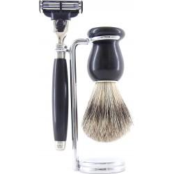 photo de Set de rasage 3 pièces Bois d'Ebène - Blaireau poil gris - rasoir Mach3 (M3PEBPB12) Gentleman Barbier