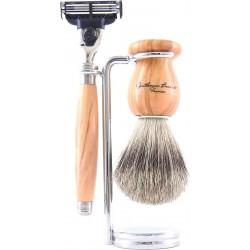 photo de Set de rasage 3 pièces Bois d'Olivier - Blaireau poil gris - rasoir Mach3 (M3POLPB12) Gentleman Barbier