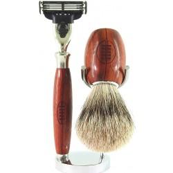 photo de Set de rasage 3 pièces Gentleman Rugby, Bois de Padouk - Blaireau poil gris - rasoir Mach3 (MGR3PM3) Gentleman Barbier