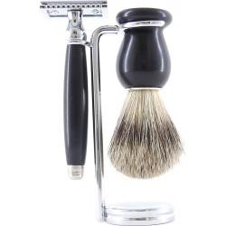 photo de Set de rasage 3pièces Bois d'Ébène noir - Blaireau poil blanc - rasoir sécurité (S3PSEBPB12) Gentleman Barbier