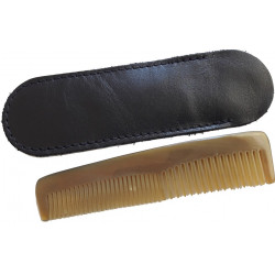 -Peigne Cheveux de Poche en corne véritable 13cm dans son étui LORDSON