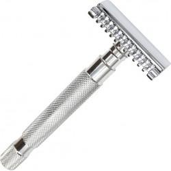Rasoir de Sureté dentelé à peigne ouvert, ouv. totale, long 10.16 cm 110 gr