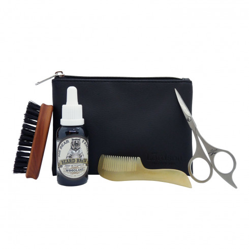 Trousse cuir petit modèle de Barbier,huile&peigne&ciseaus&brosse à barbe LORDSON
