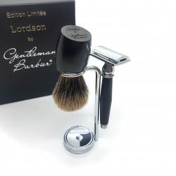 photo de Set de rasage Lordson x Gentleman Barbier, Bois d'Ebène - Blaireau poil gris - rasoir sécurité