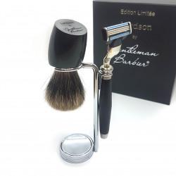 photo de Set de rasage Bois d'Ebène, Blaireau Incliné poil gris, rasoir Mach3 LORDSON