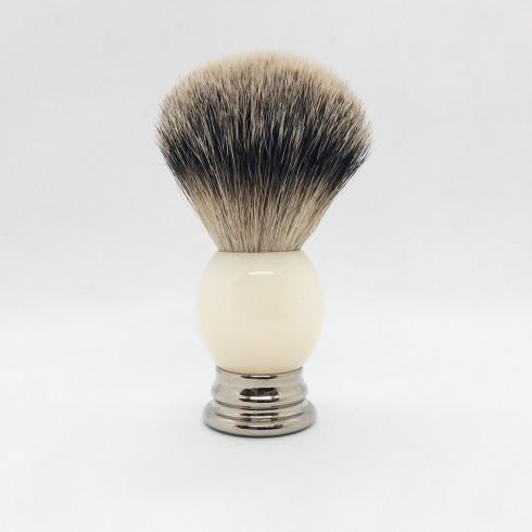 Blaireau pur Poil gris, manche blanc&métal LORDSON