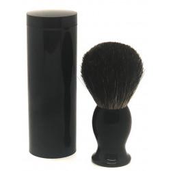 Blaireau T10 pur Poil gris, manche noir dans son étui de voyage LORDSON