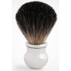 Blaireau PLISSON pur poil noir, T12, en laiton massif guilloché & Palladium