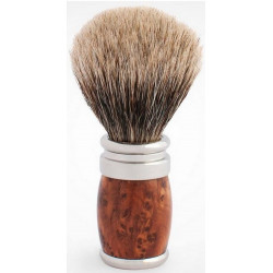 Blaireau PLISSON pur poil gris Européen T12, manche fût Thuya & Palladium