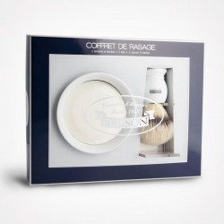 Ensemble de Rasage PLISSON 3 Pièces, support & bol, savon & blaireau Access Blanc