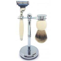 Ensemble de rasage 3 pièces, Blaireau pur poil gris, Rasoir Mach3, manche blanc & métal LORDSON