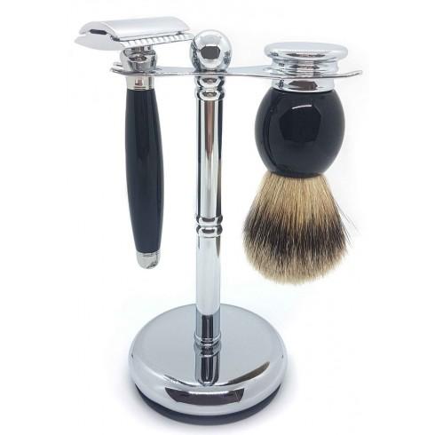 Ensemble de rasage 3 pièces, Blaireau pur Poil gris, Rasoir de sûreté, manche noir & métal, Support LORDSON